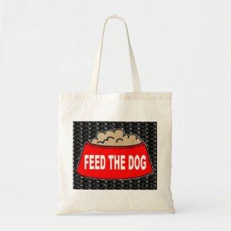 Handbag Dog Food Bowl Red Feed The Dog On Black bag
