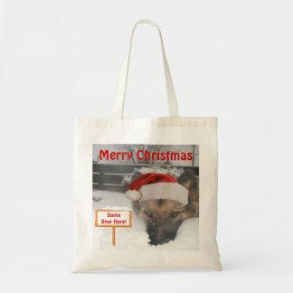 Handbag German Shepherd Santa Stop Here