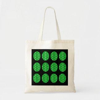 Handbag Green Glitter Circles On Black