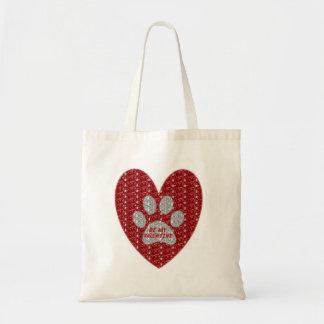 Handbag Red Silver Paw Heart Be My Valentine