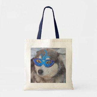 Handbag with Husky Blue Eyes Mardi Gras Mask