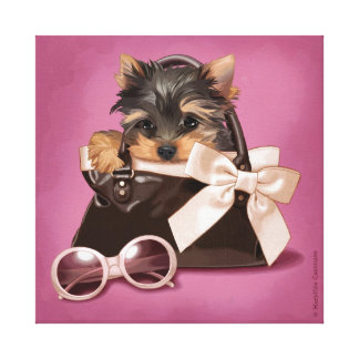 Handbag yorkie canvas print
