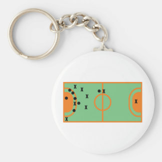 handball field with players icon basic round button keychain