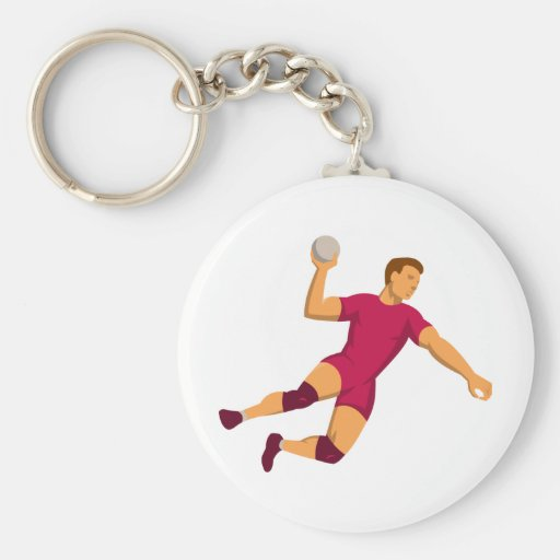 handball player jumping retro basic round button keychain