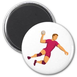 handball player jumping retro magnet