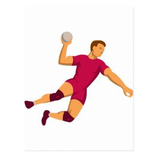 handball player jumping retro postcard