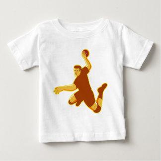 handball player jumping striking retro baby T-Shirt