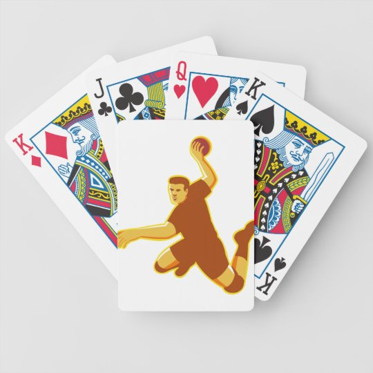 handball player jumping striking retro bicycle playing cards
