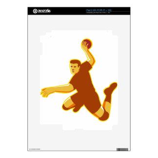 handball player jumping striking retro decal for iPad 2