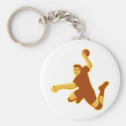 handball player jumping striking retro keychains