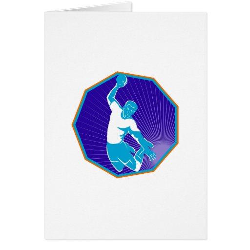 handball player jumping throwing ball greeting card