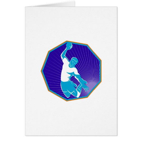 handball player jumping throwing ball card