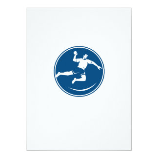 Handball Player Jumping Throwing Ball Icon 5.5x7.5 Paper Invitation Card