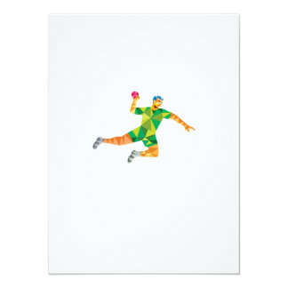 Handball Player Jumping Throwing Ball Low Polygon 5.5x7.5 Paper Invitation Card