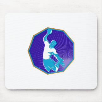handball player jumping throwing ball mouse pad