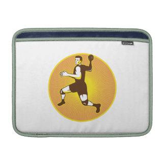 Handball Player Jumping Throwing Ball Scoring MacBook Sleeve