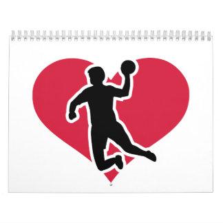 Handball player red heart wall calendar