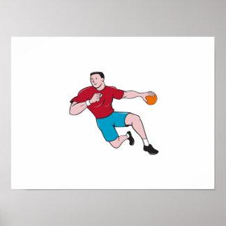 Handball Player Throwing Ball Cartoon Poster