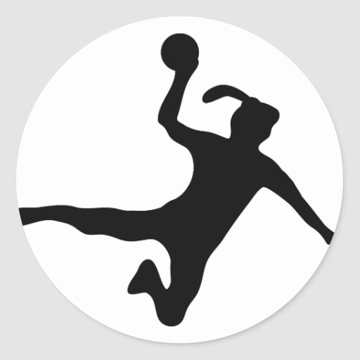 handball spielerin frauenhandball classic round sticker