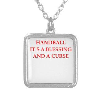 handball square pendant necklace