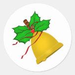 Handbell del navidad del oro etiqueta redonda