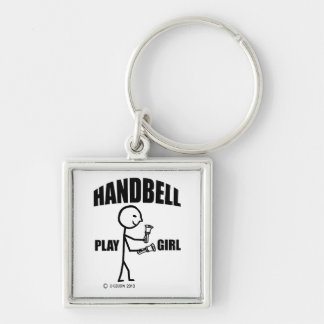 Handbell Play Girl Silver-Colored Square Keychain