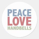 Handbells del amor de la paz etiqueta redonda