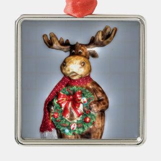 Handcarved-effect Wooden Christmas Reindeer Christmas Tree Ornament
