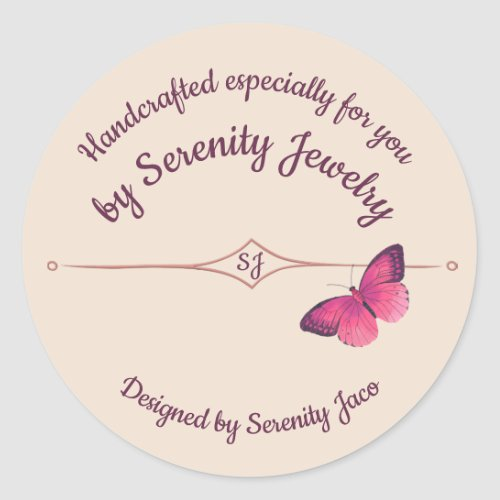 Handcrafted by With Purple Butterfly Classic Round Sticker