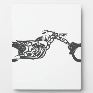 handcuff chopper motorcycle photo plaque