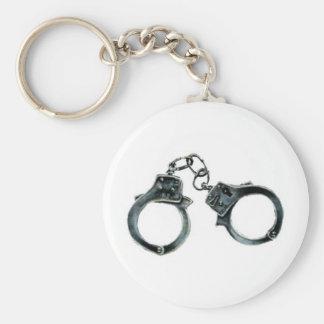 handcuffs basic round button keychain