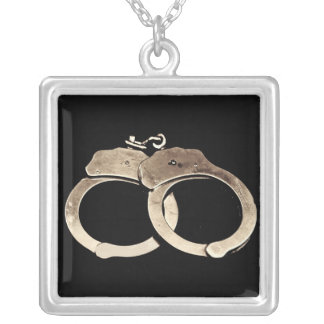 Handcuffs Sterling Silver Pendant and Necklace