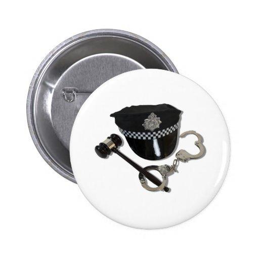HandcuffsGavelPoliceHat073110 2 Inch Round Button