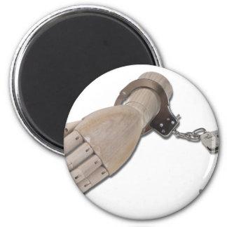 HandcuffsWoodenHand052711 Imán Redondo 5 Cm