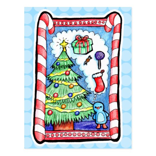 Handdrawn Christmas Scene Postcard