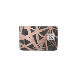 Handdrawn faux rose gold brushstrokes triangles business card holder