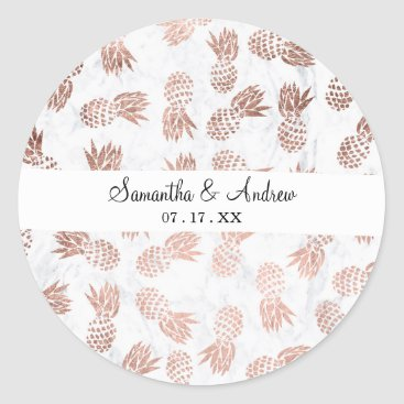 girly_trend Handdrawn faux rose gold pineapples white marble classic round sticker