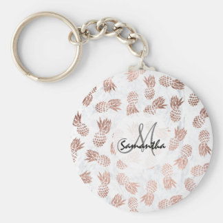 Handdrawn faux rose gold pineapples white marble keychain
