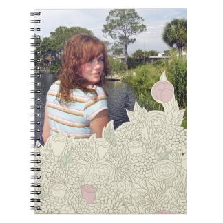 Handdrawn flower border spiral notebooks