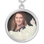 Handdrawn flower border pendant
