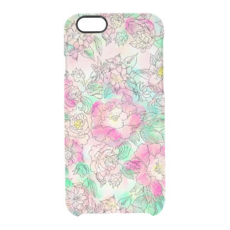 Handdrawn girly pink turquoise floral watercolor clear iPhone 6/6S case