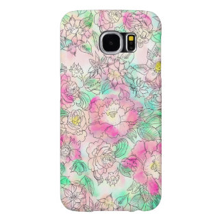 Handdrawn girly pink turquoise floral watercolor samsung galaxy s6 cases