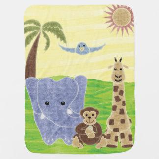 Handdrawn Handpainted Cute Safari Animals Baby Blanket