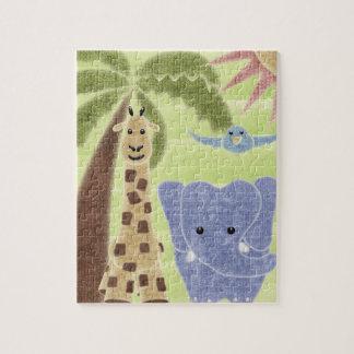 Handdrawn Handpainted Cute Safari Animals Jigsaw Puzzle