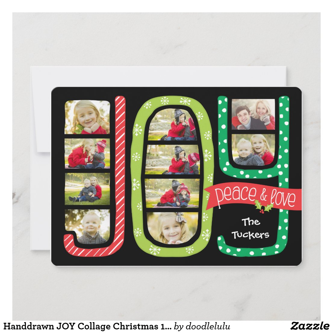 Handdrawn JOY Collage Christmas 10-Photo Card