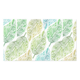 Handdrawn modern green floral paisley leaf pattern business card templates