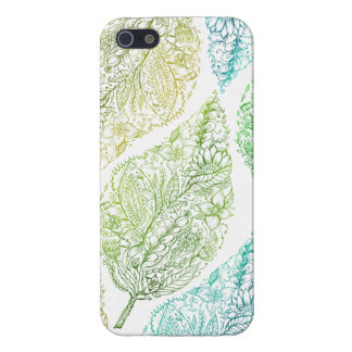 Handdrawn modern green floral paisley leaf pattern case for iPhone SE/5/5s