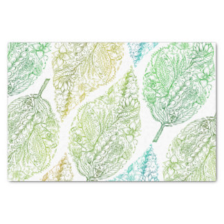 Handdrawn modern green floral paisley leaf pattern tissue paper