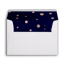 Handdrawn navy blue watercolor rose gold confetti envelope