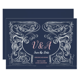 Handdrawn Ornament Save-the-Date Card